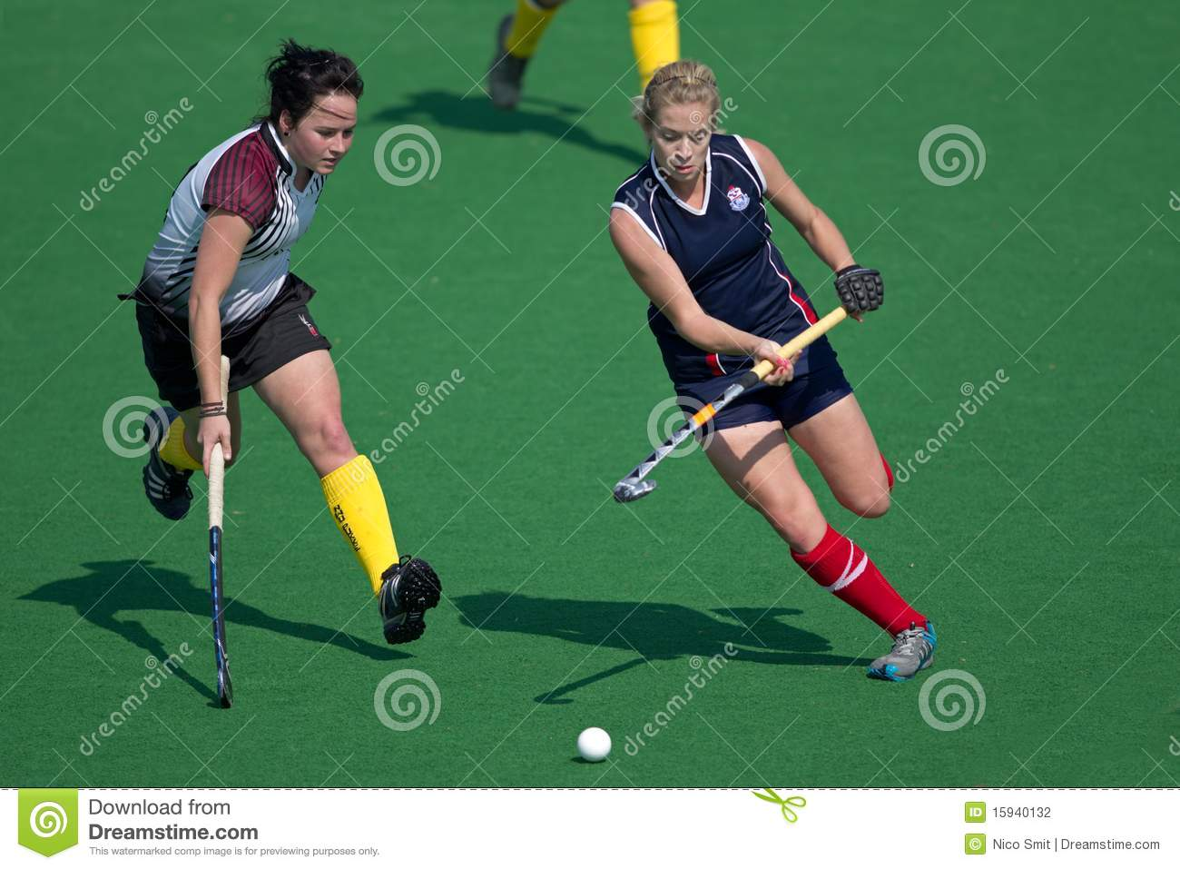 Action during an annual women's field hockey match between the North ...