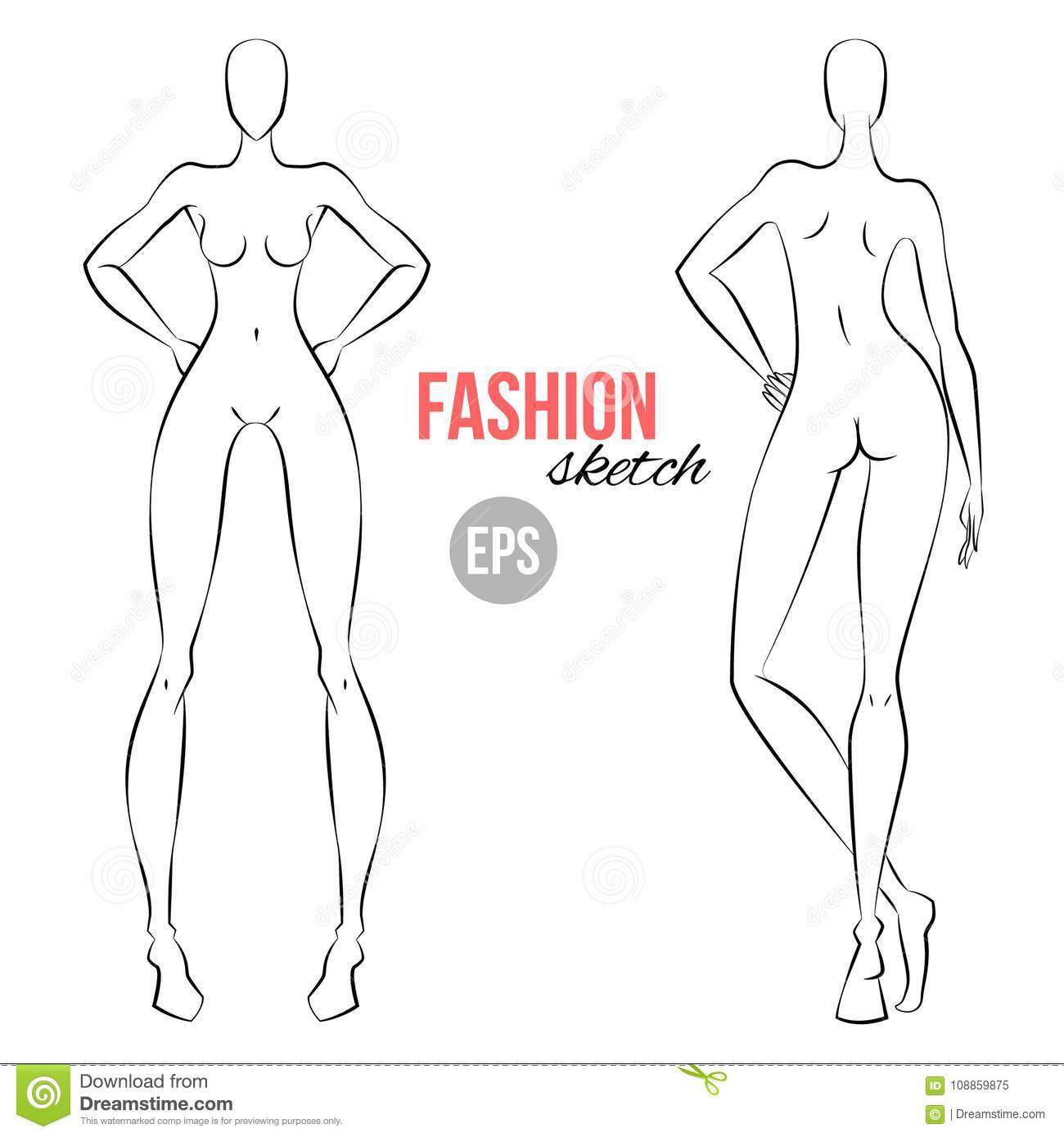 Womens Figure Fashion Sketch Template For Designers Of Clothes Different Poses