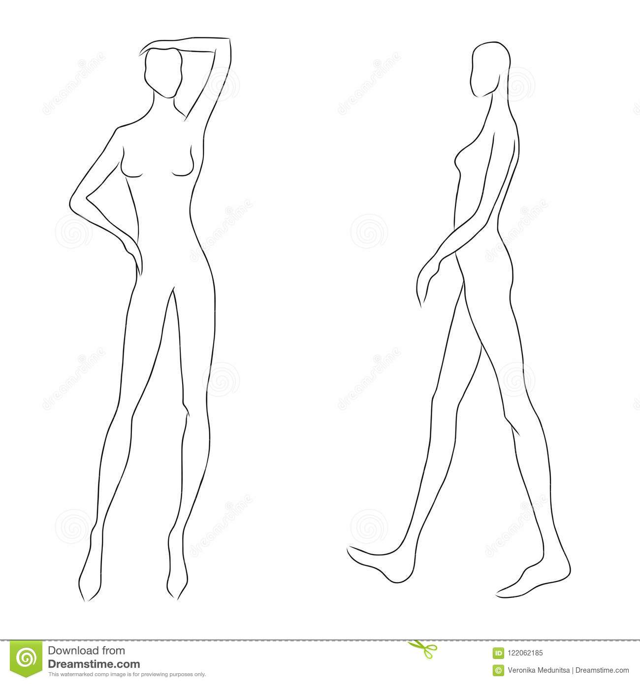 women s figure sketch different poses template for drawing for
