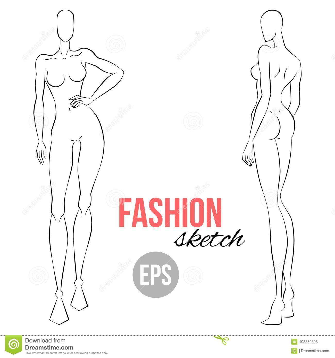 Women S Figure Sketch Different Poses Template For Drawing