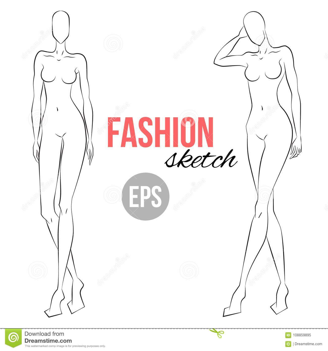 Womens Figure Sketch Different Poses Template For Drawing Designers Of Clothes