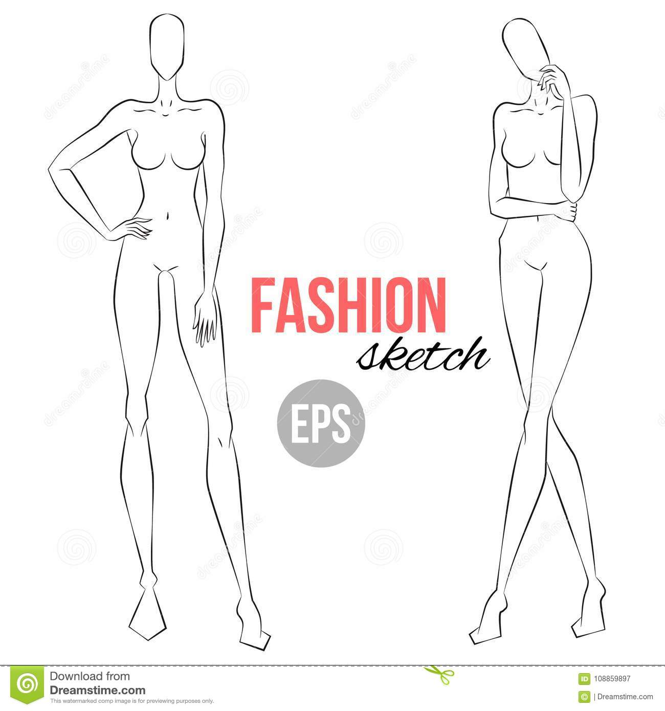 Women`s Figure Sketch  Different Poses  Template For Drawing For
