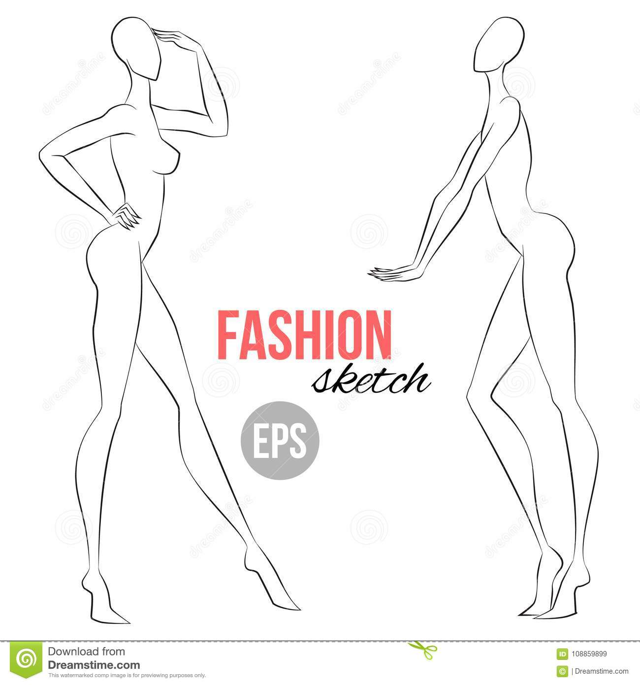 Womens Figure Sketch Different Poses Template For Drawing For
