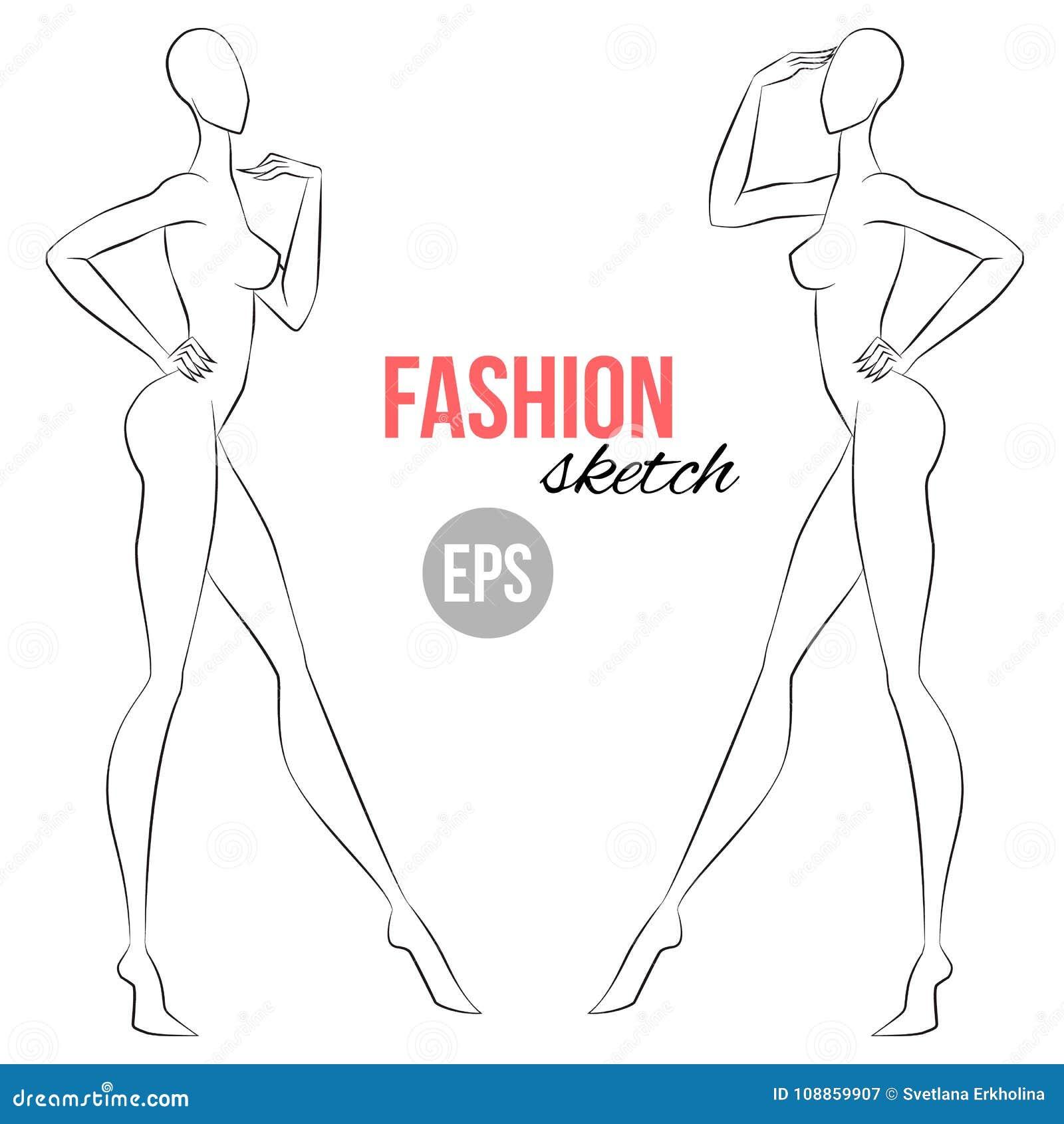 Women`s Figure Sketch. Half,face Wiev. Vector Outline Girl