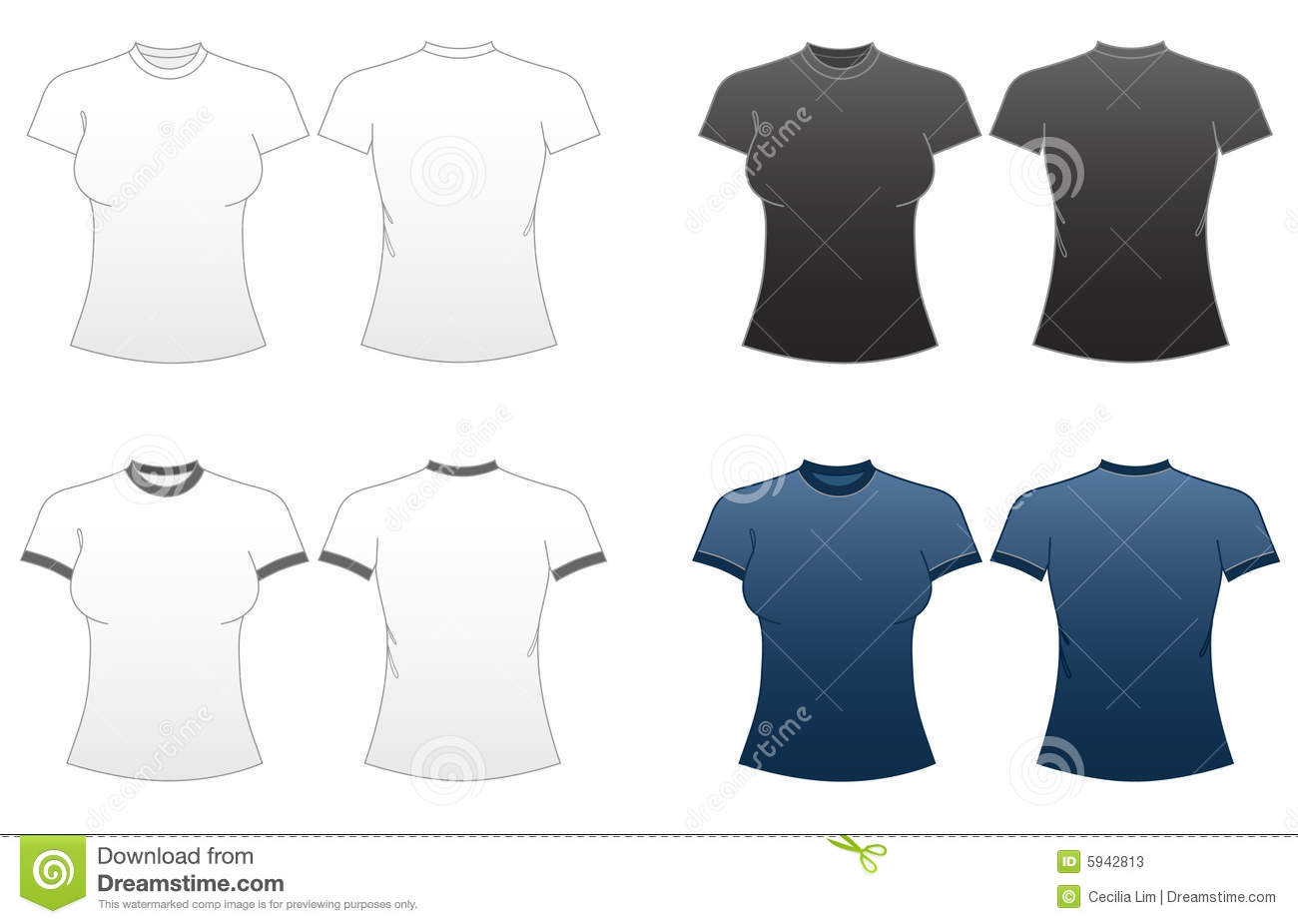 Women 39 s fitted t shirt templates series 1 stock vector for What is a fitted t shirt