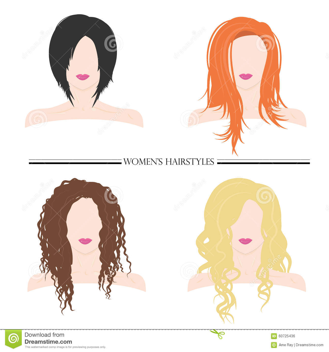Women S Hairstyles Types Of Female Hairstyles Vector