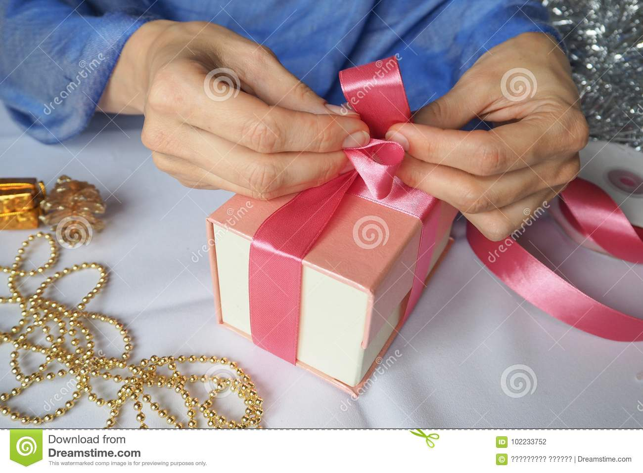 Women S Hand Made Gift Box Holiday Package Handmade Stock Photo