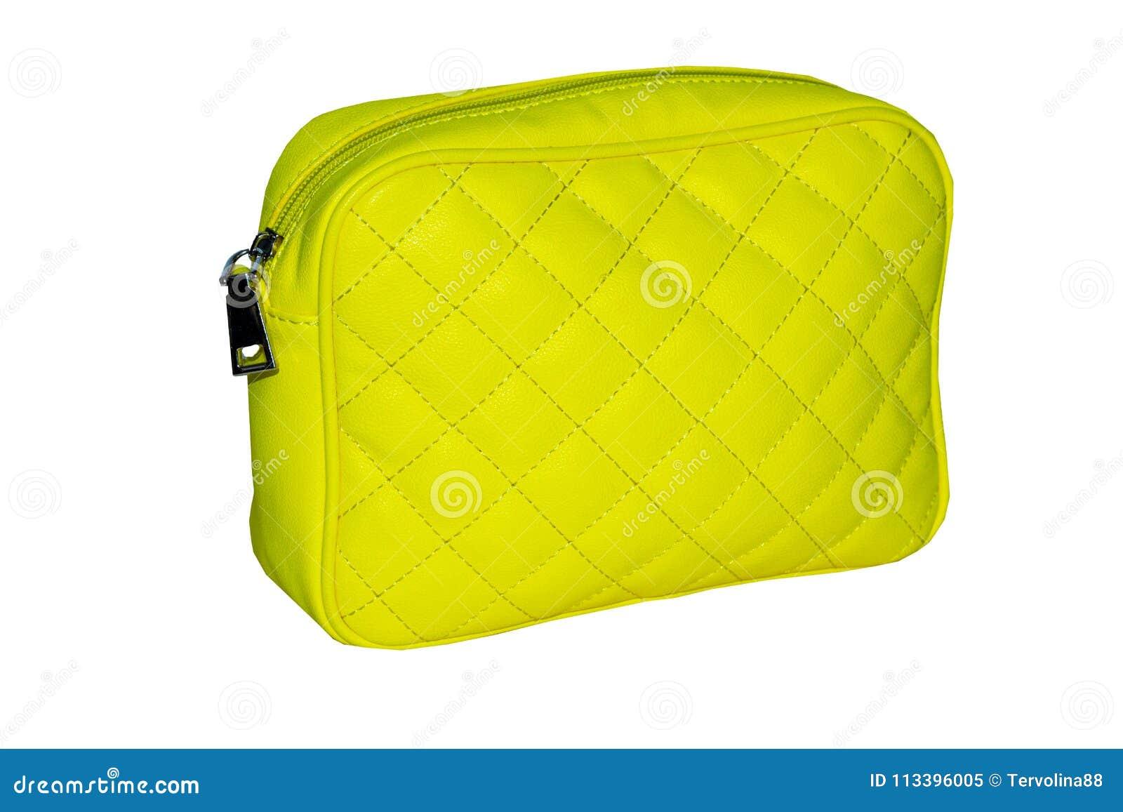 Women`s handbag lemon yellow with a pattern in the form of diamonds