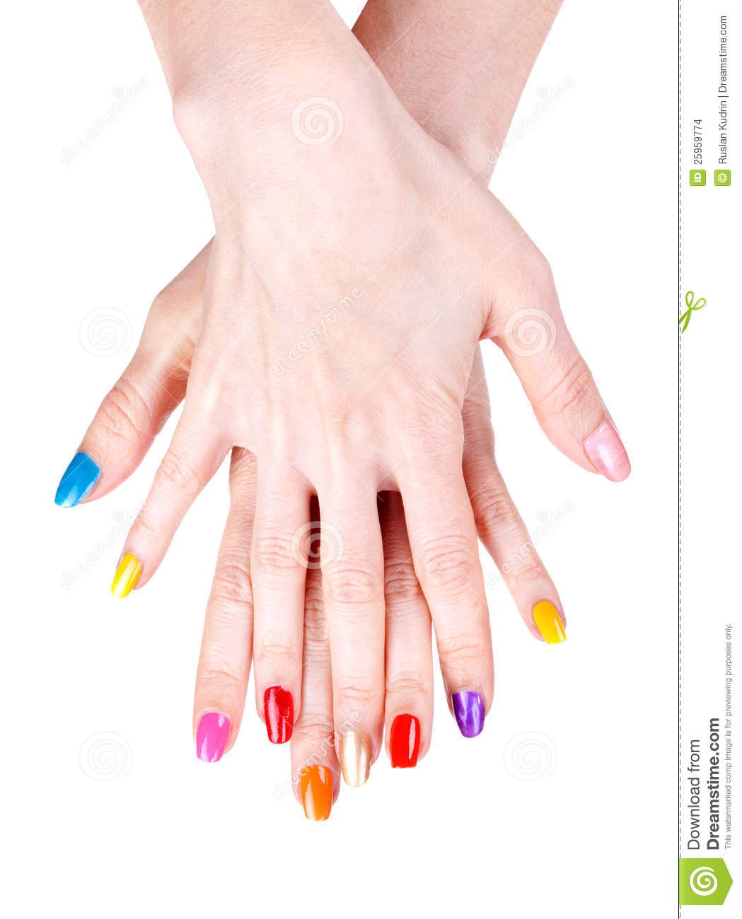 Nail Polish Colors For Younger Looking Hands: Women's Hands With A Colored Nail Polish Stock Images