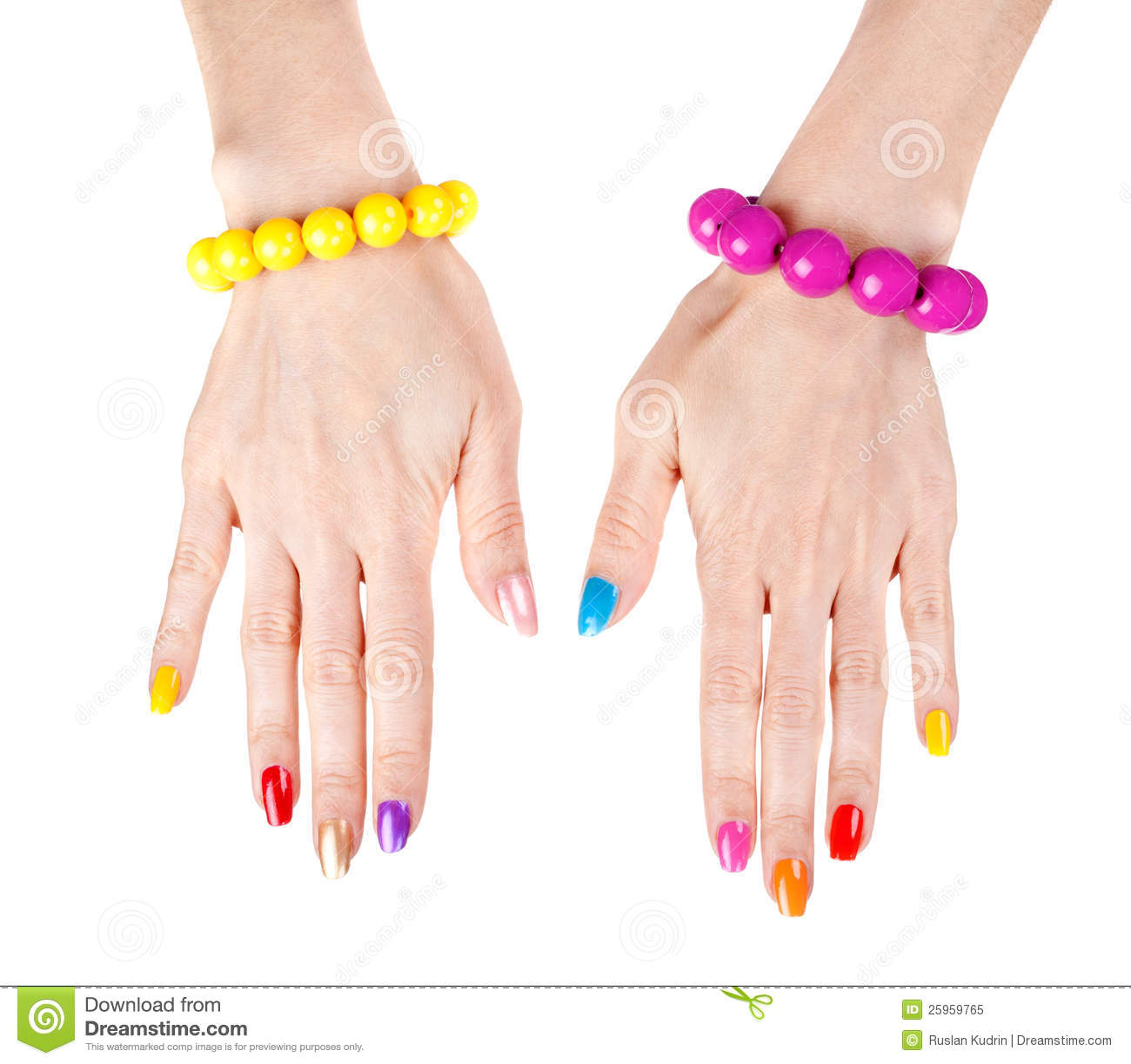 Red Nail Polish On Thumb: Women's Hands With Multi-colored Nail Polish Royalty Free