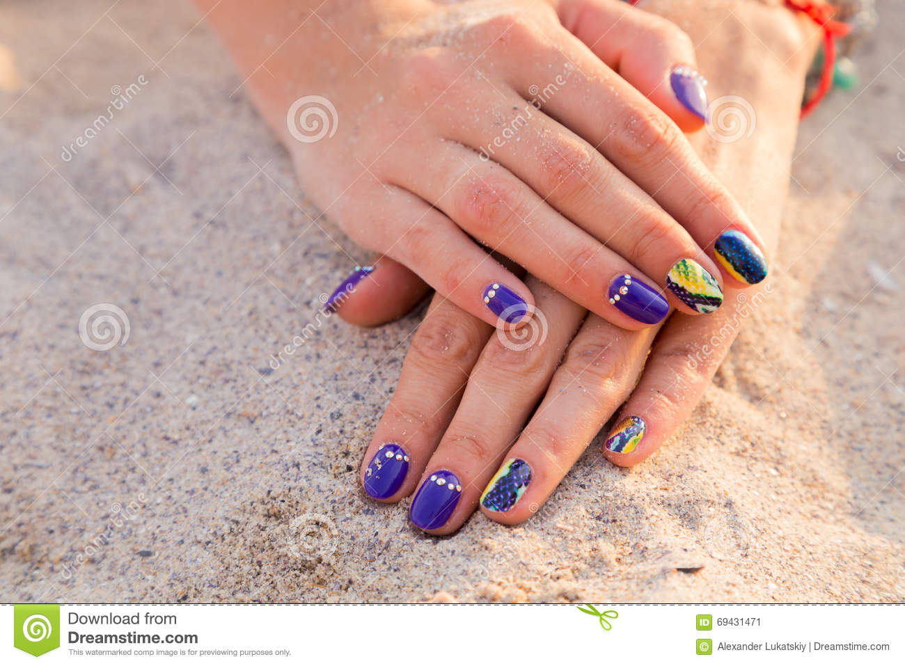 Women\'s Hands With A Nice Manicure On The Sand Stock Image - Image ...