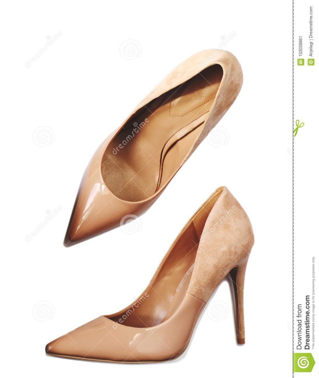 Women`s High-heeled Shoes Isolated On White Background ...