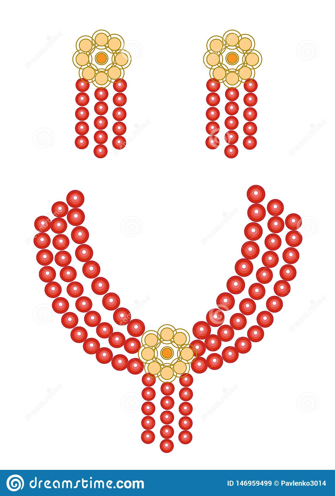 Women`s jewelry. Bright red beautiful beads and earrings. Vector illustration