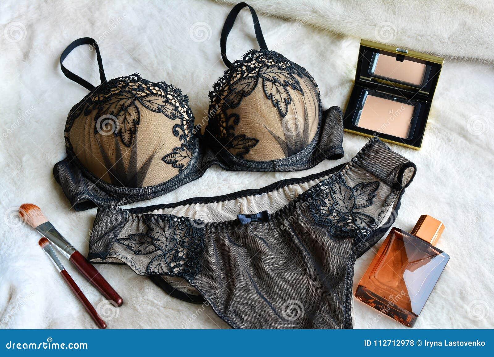 2ea9970adb Women`s Lace Underwear Is Black In Color  Bra And Panties. Stock ...