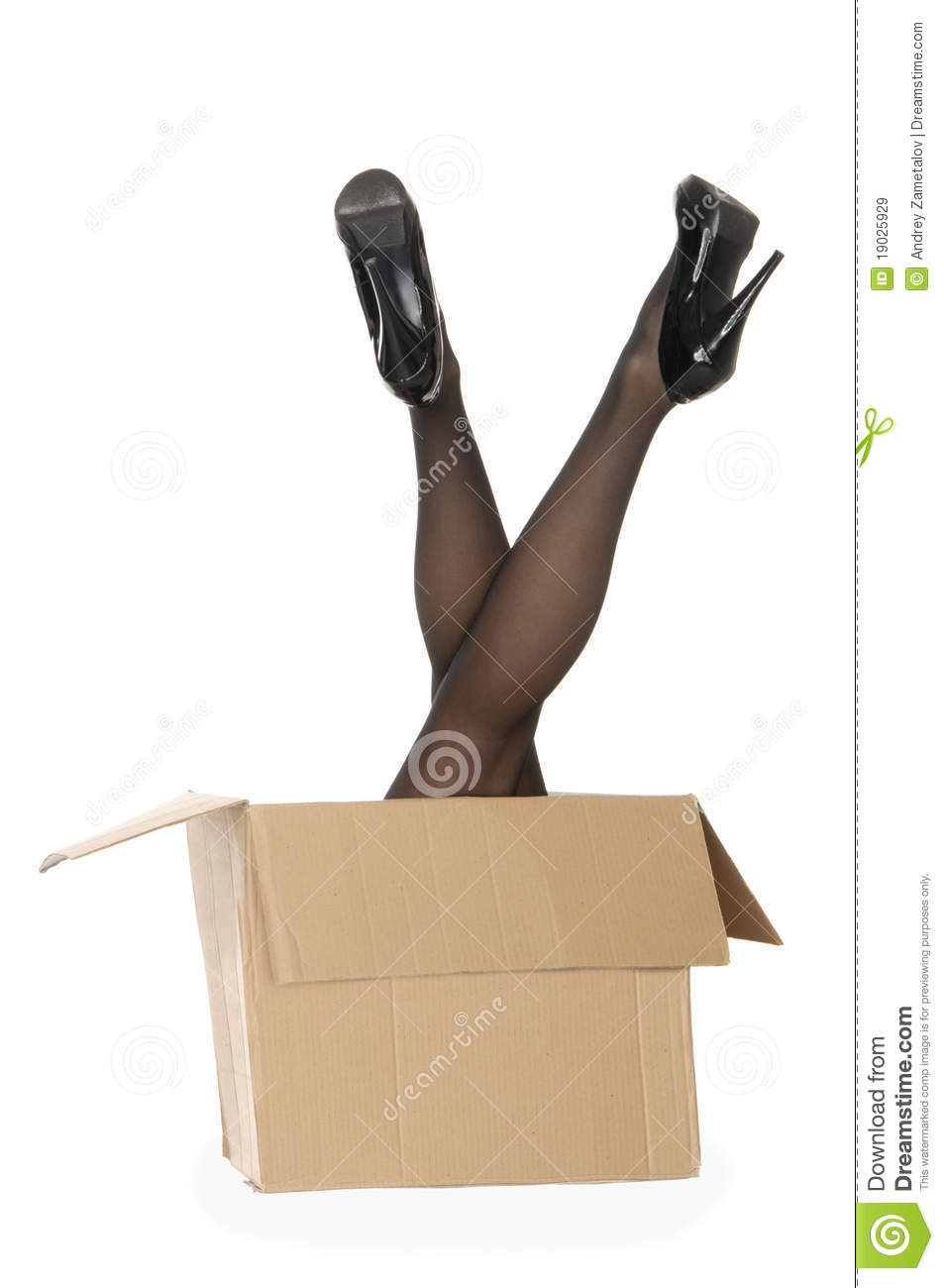 Women s legs sticking out of the box