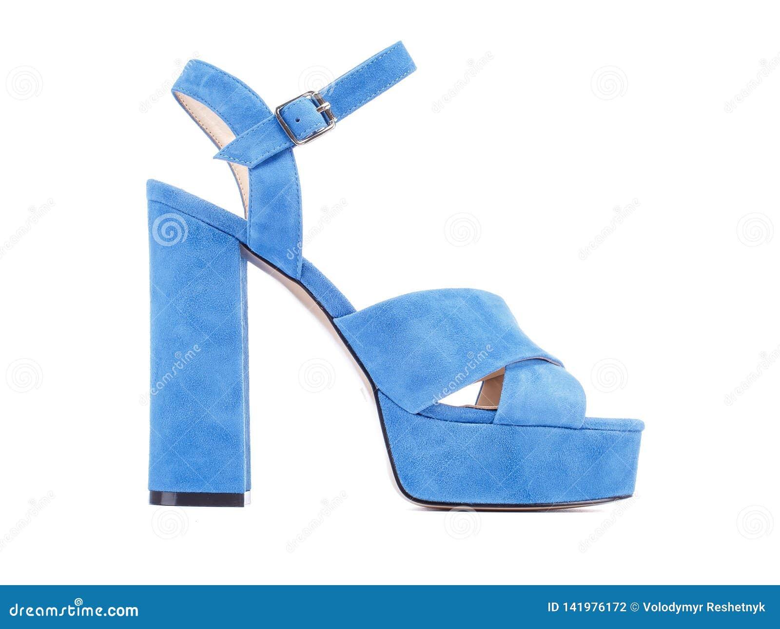 Light Blue Velvet High Heels Shoes