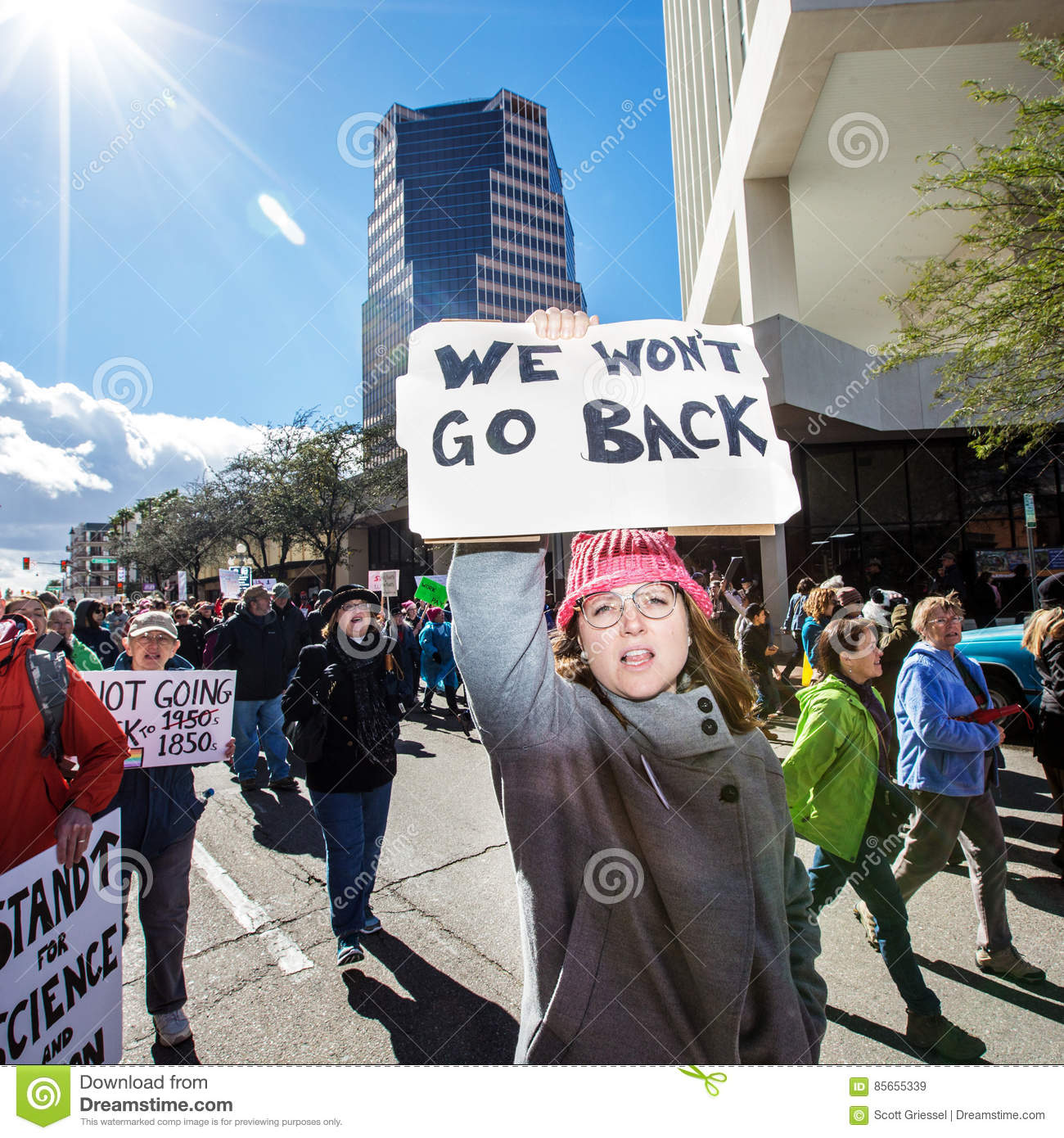 Women`s March Protestor in Downtown Tuscon, Arizona