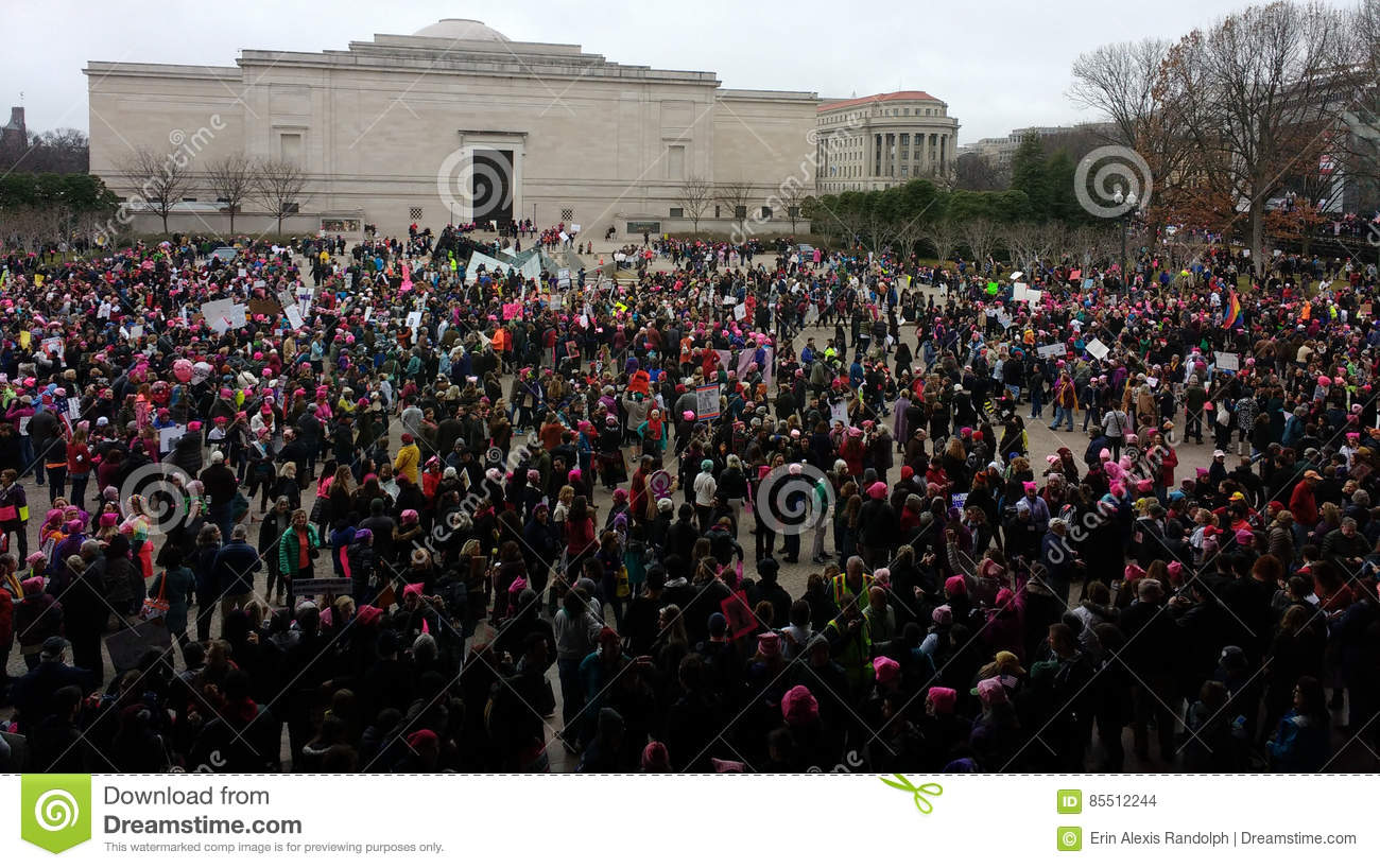 Women`s March on Washington, Protesters Gather Outside the National Gallery of Art East Building, Washington, DC, USA