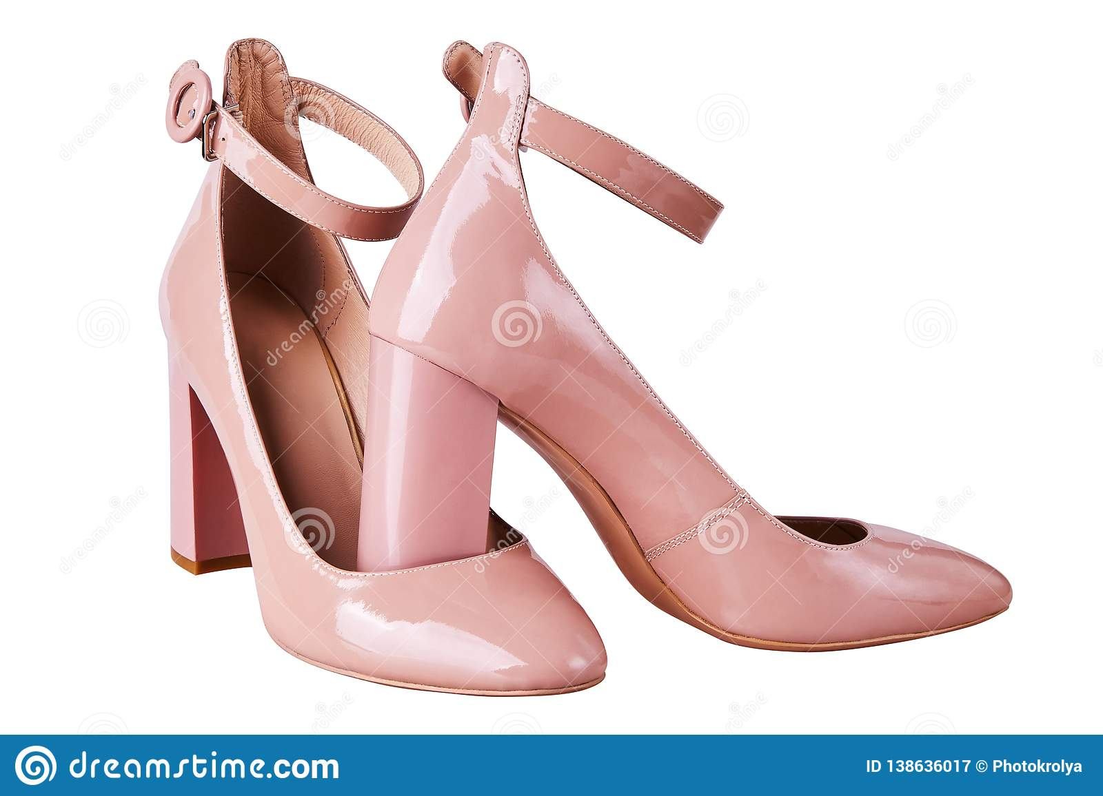 Women`s Nude High Heel Shoes With Ankle