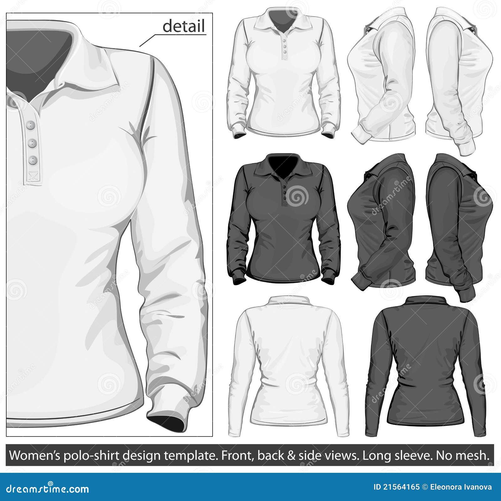 Women 39 s polo shirt design template long sleeve royalty for Long sleeve t shirt template illustrator