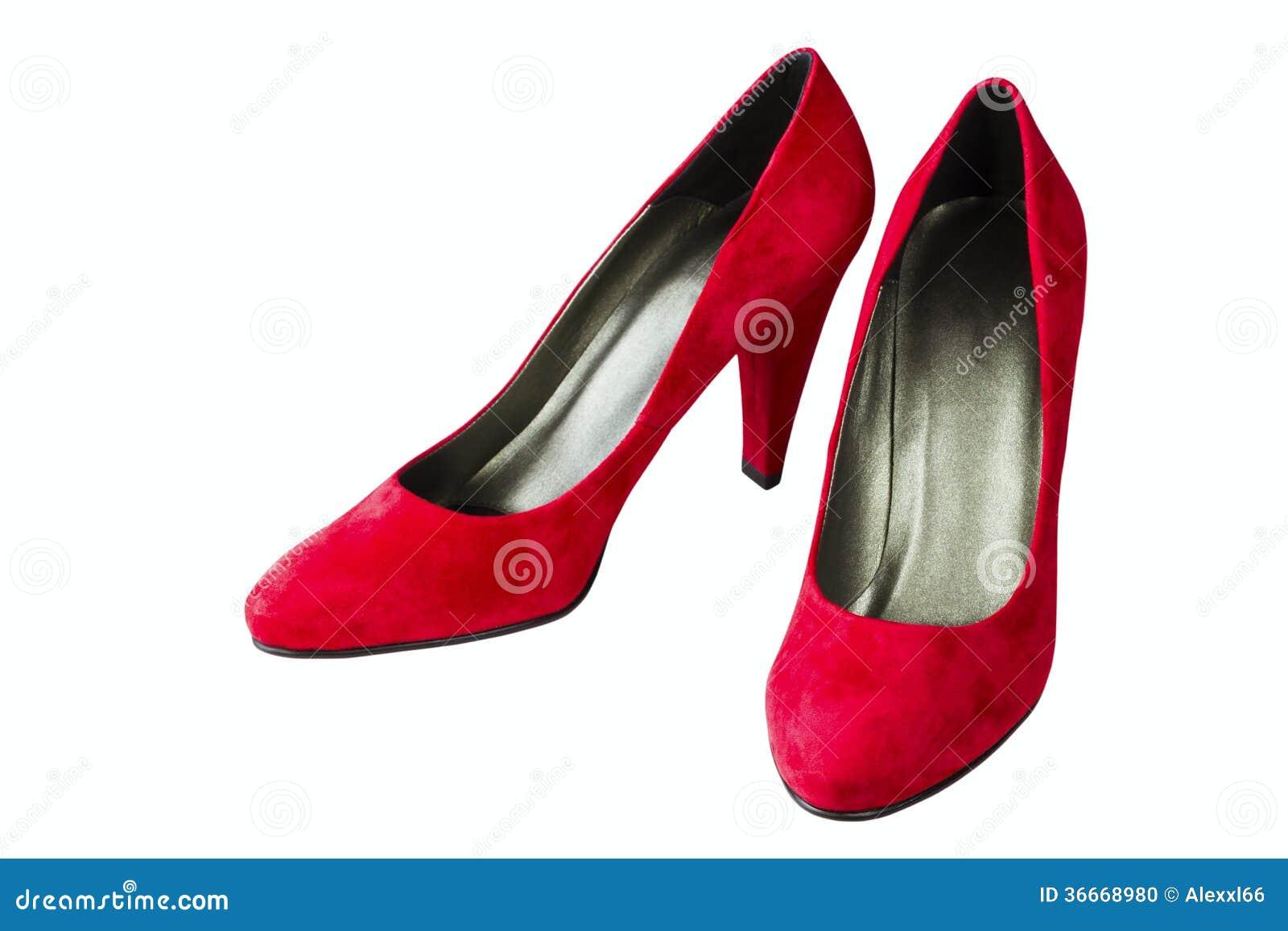 Women's Red Velvet Shoes Stock Photo - Image: 36668980