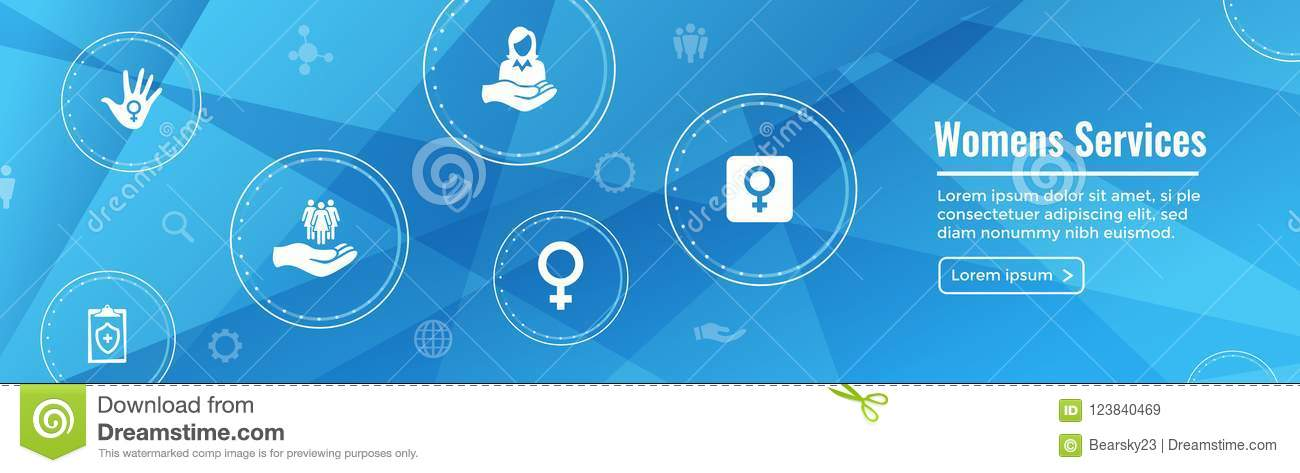 Womens Services Icon Set And Web Header Banner With Female Symb