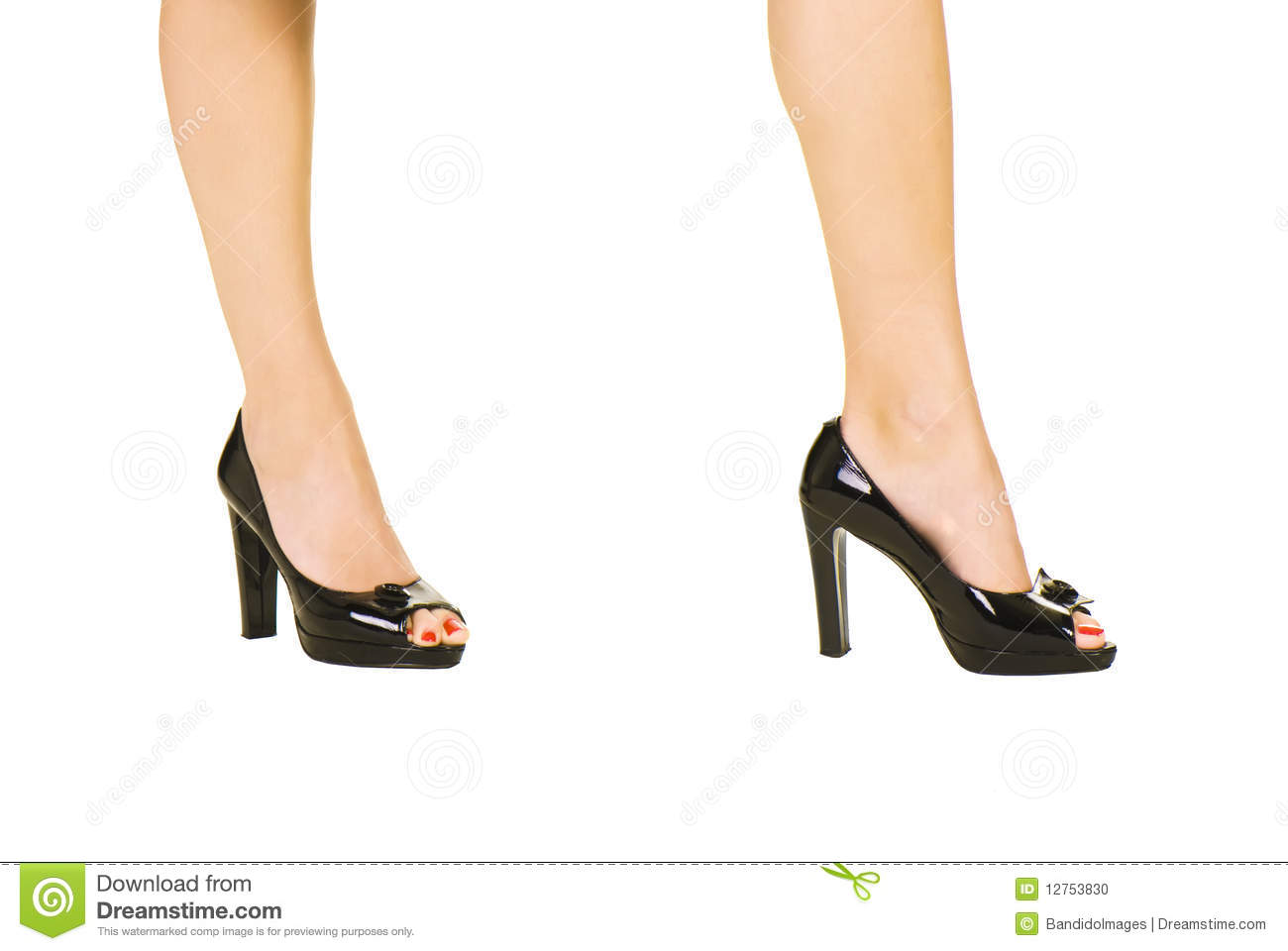 Stock Photo: Women s shoes with red pedicure