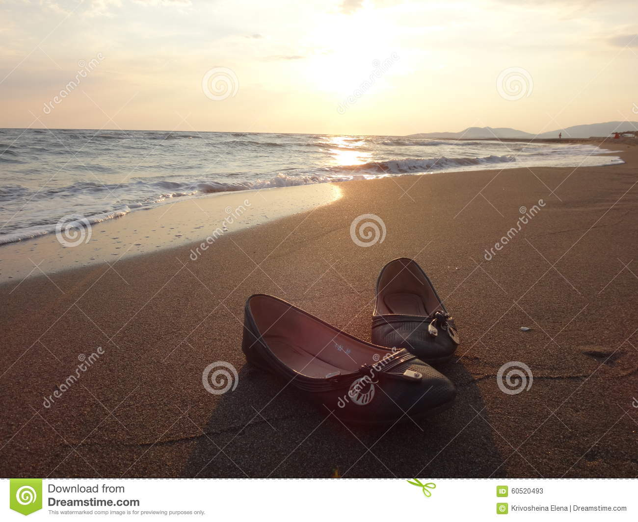 e473df509e73 Women s shoes on the sand stock image. Image of glow - 60520493