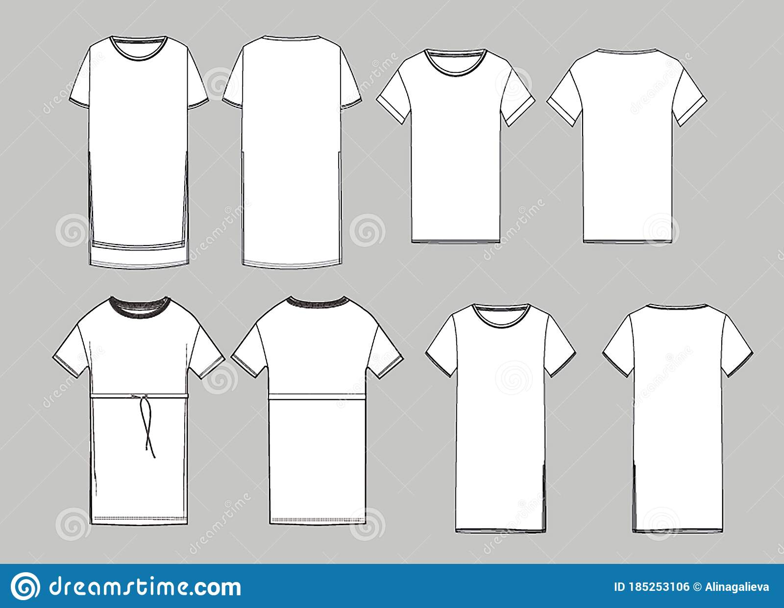 Women S Simple Long T Shirt Design Apparel Template Fashion Flat Sketch Vector Stock Vector Illustration Of Classic Clothing 185253106