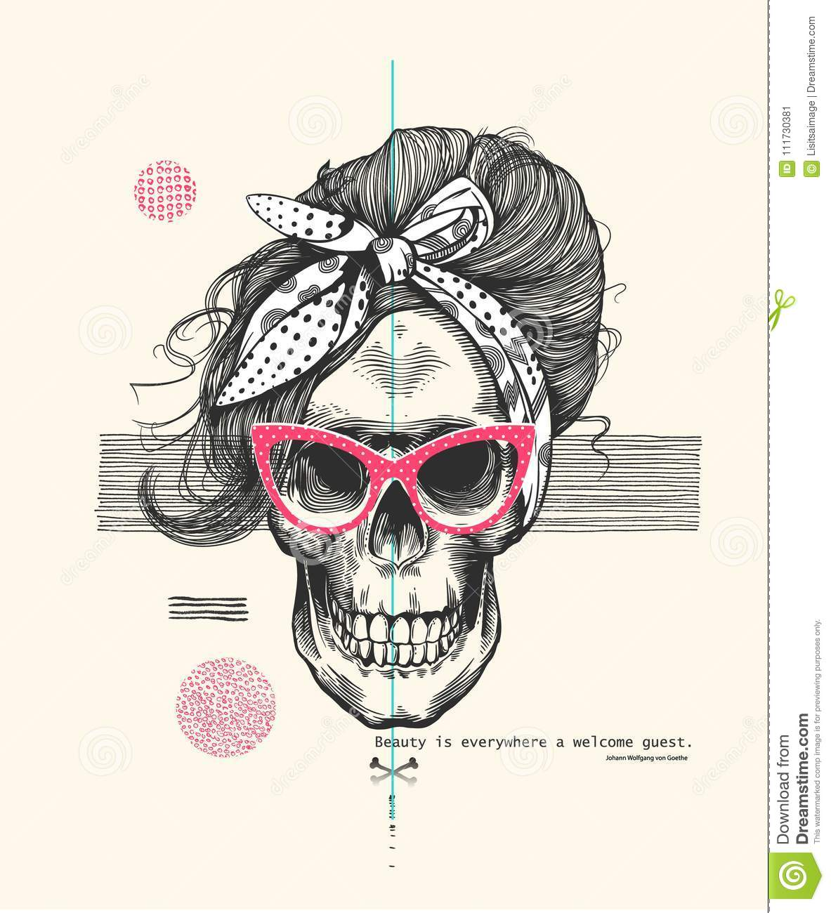 Womens Skeleton Skull In Pop Art Style Wearing Cool Sunglasses With