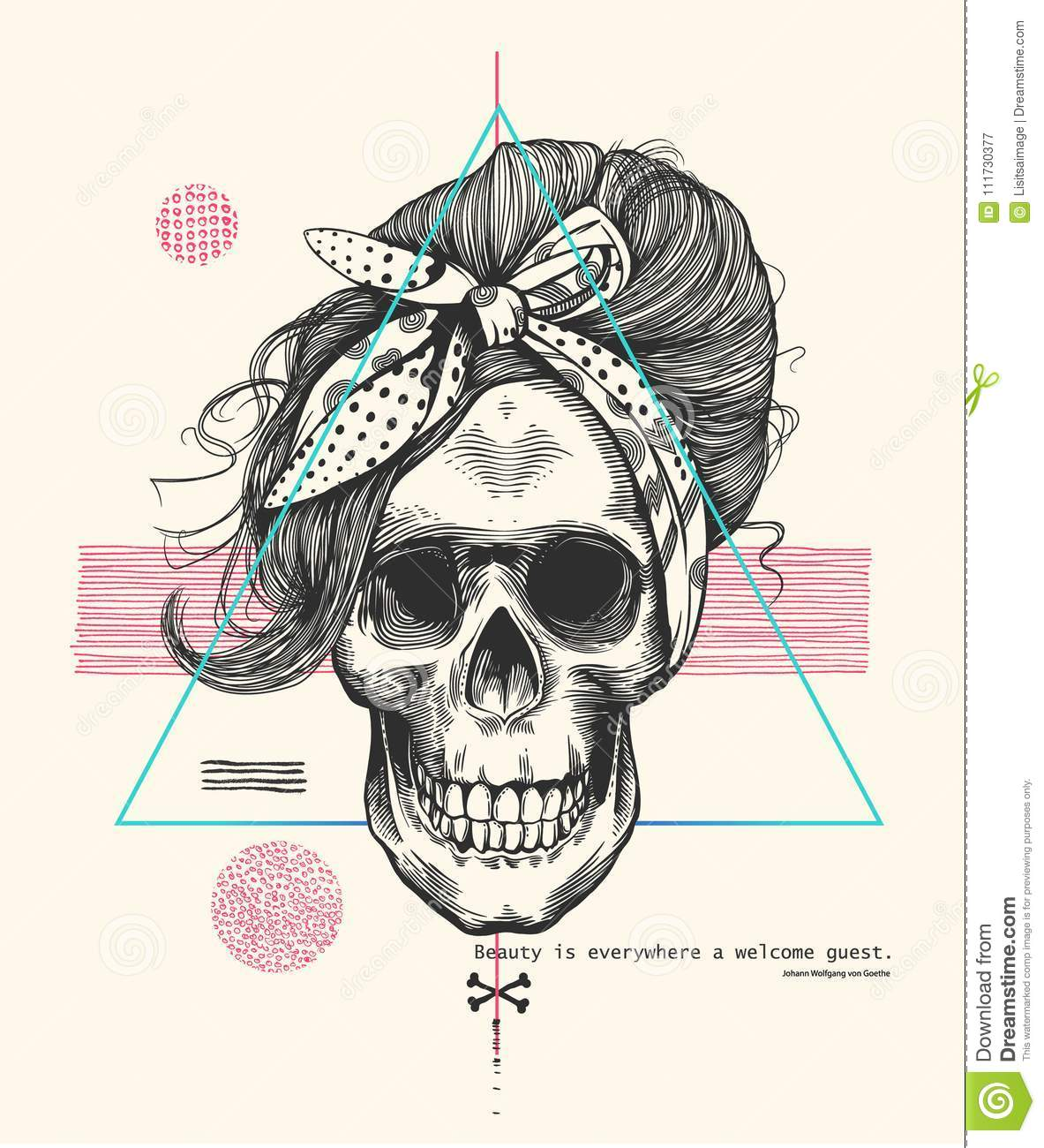 Women`s skeleton skull in woodcut style with fashionable hairstyle wearing cool scarf against hipster abstract