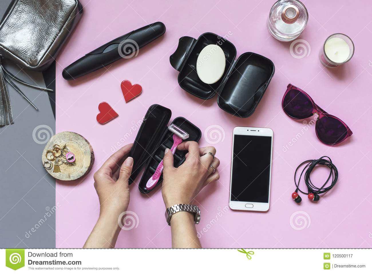 Women S Travel Accessories Summer Hygiene Items On A Pastel Pink Background Vacation And Travel Items Flat Lay Top View Stock Image Image Of Black Brush 120500117