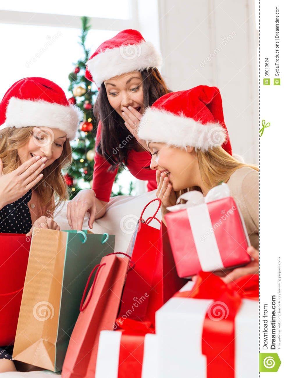 Women In Santa Helper Hats With Shopping Bags Stock Images