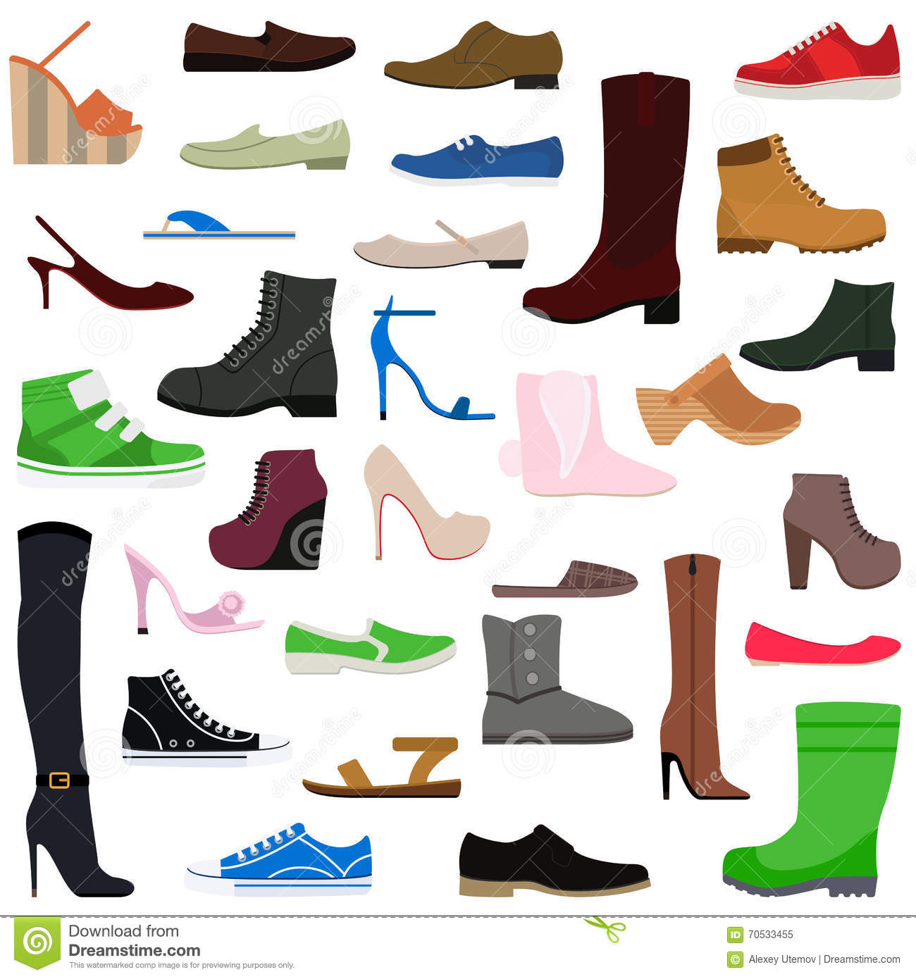 shoes collection of various types footwear