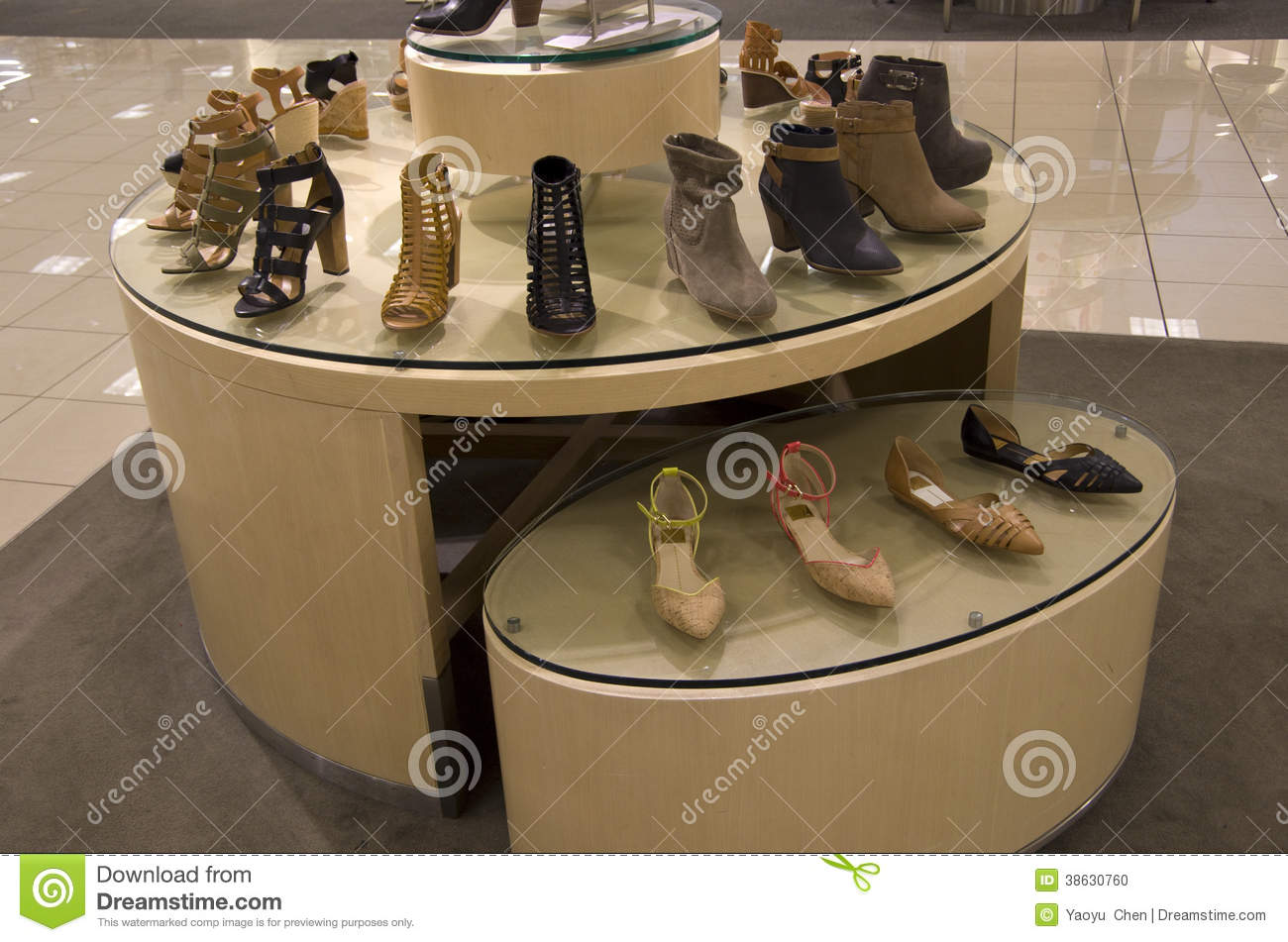 Stock Photo: Women shoes department store