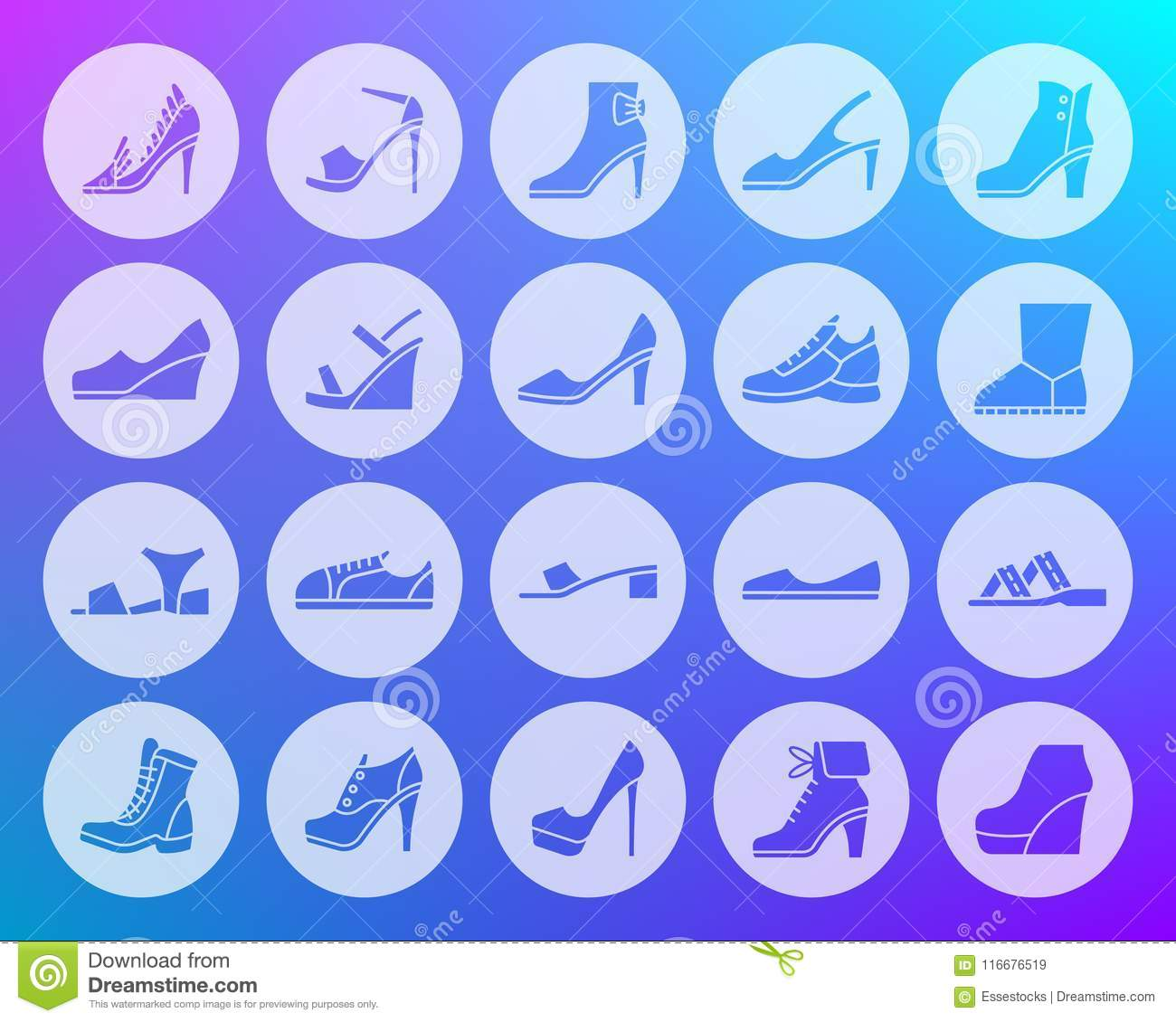 Shoes Shape Carved Flat Icons Vector Set Stock Vector Illustration
