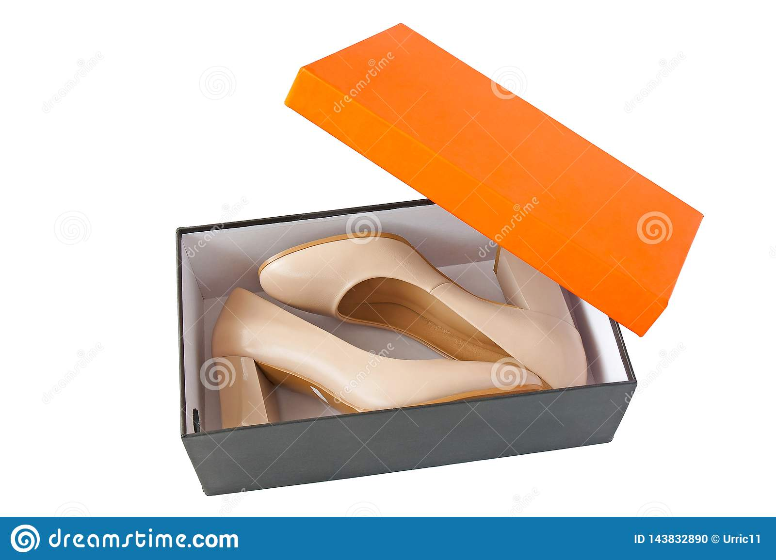 Women shoes in open box