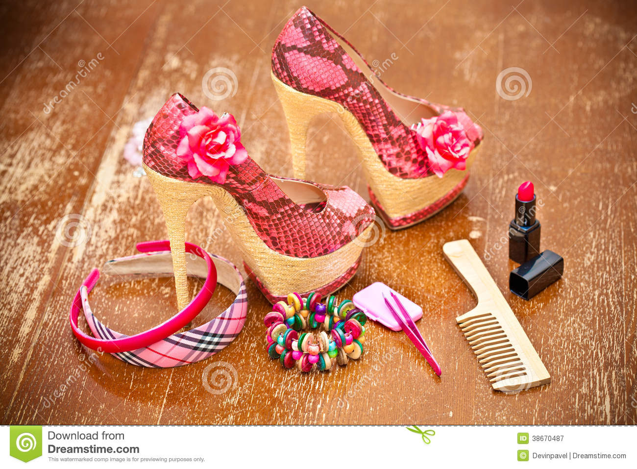 e3b2524e3 Women Shoes Pink. Women s Accessories. Stock Image - Image of heel ...
