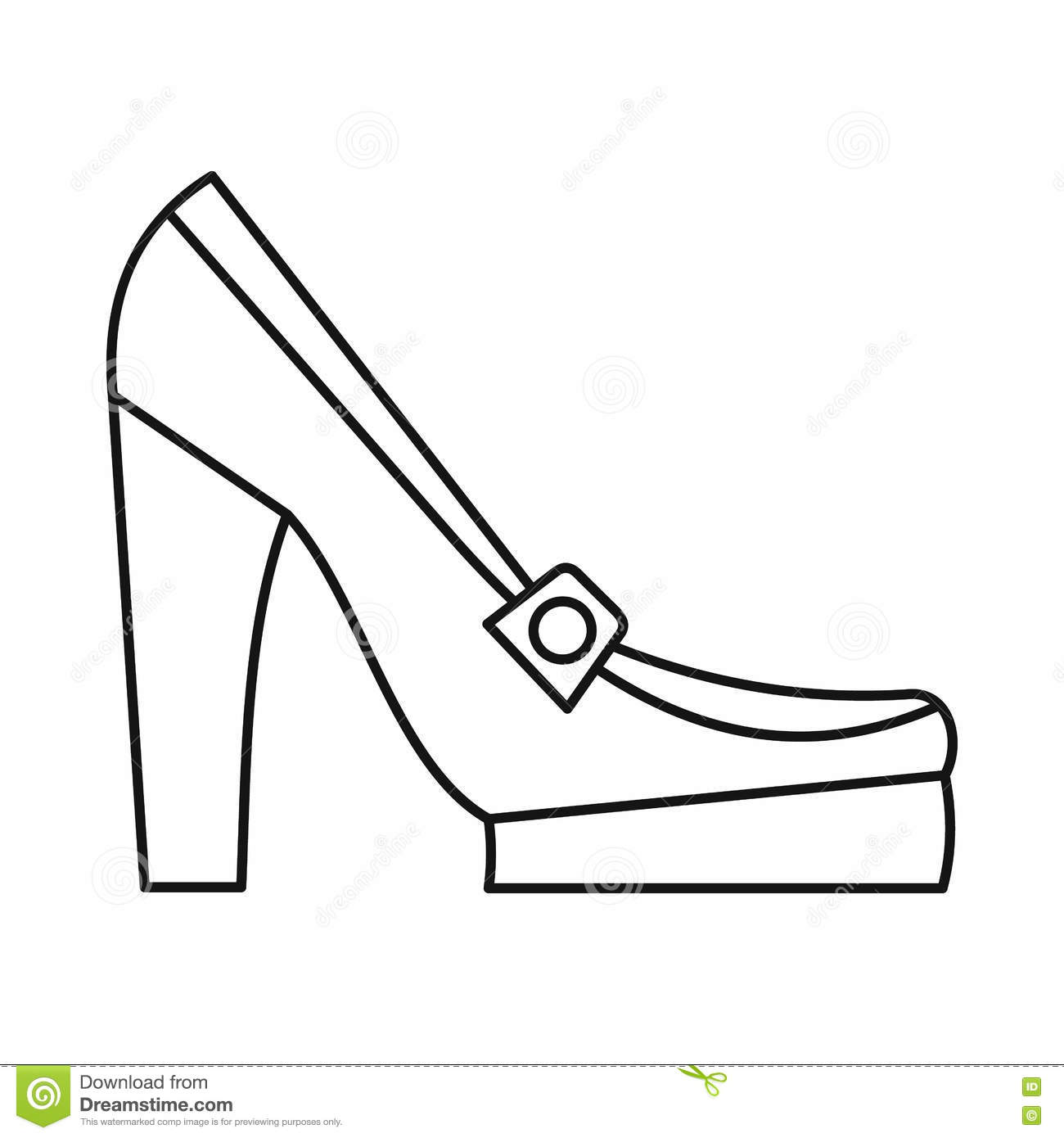 a25853aee09e Women shoes on platform icon in outline style isolated on white background.  Wear symbol vector illustration. More similar stock illustrations