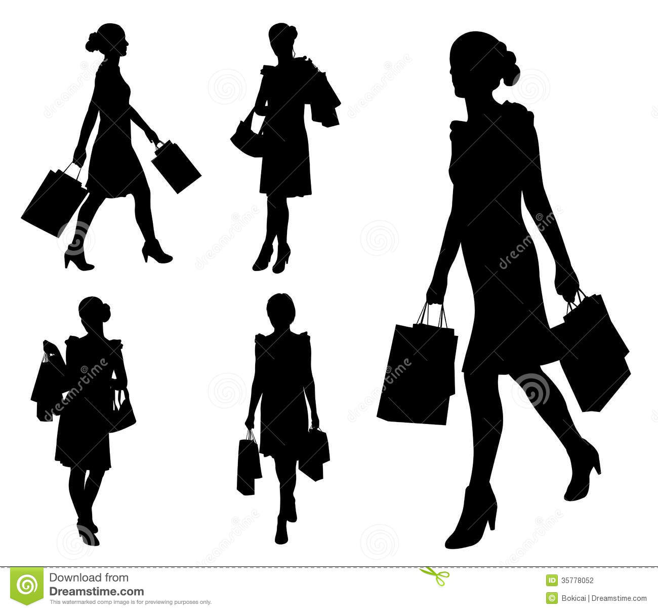 679f124635f Women with shopping bags stock vector. Illustration of lifestyle ...
