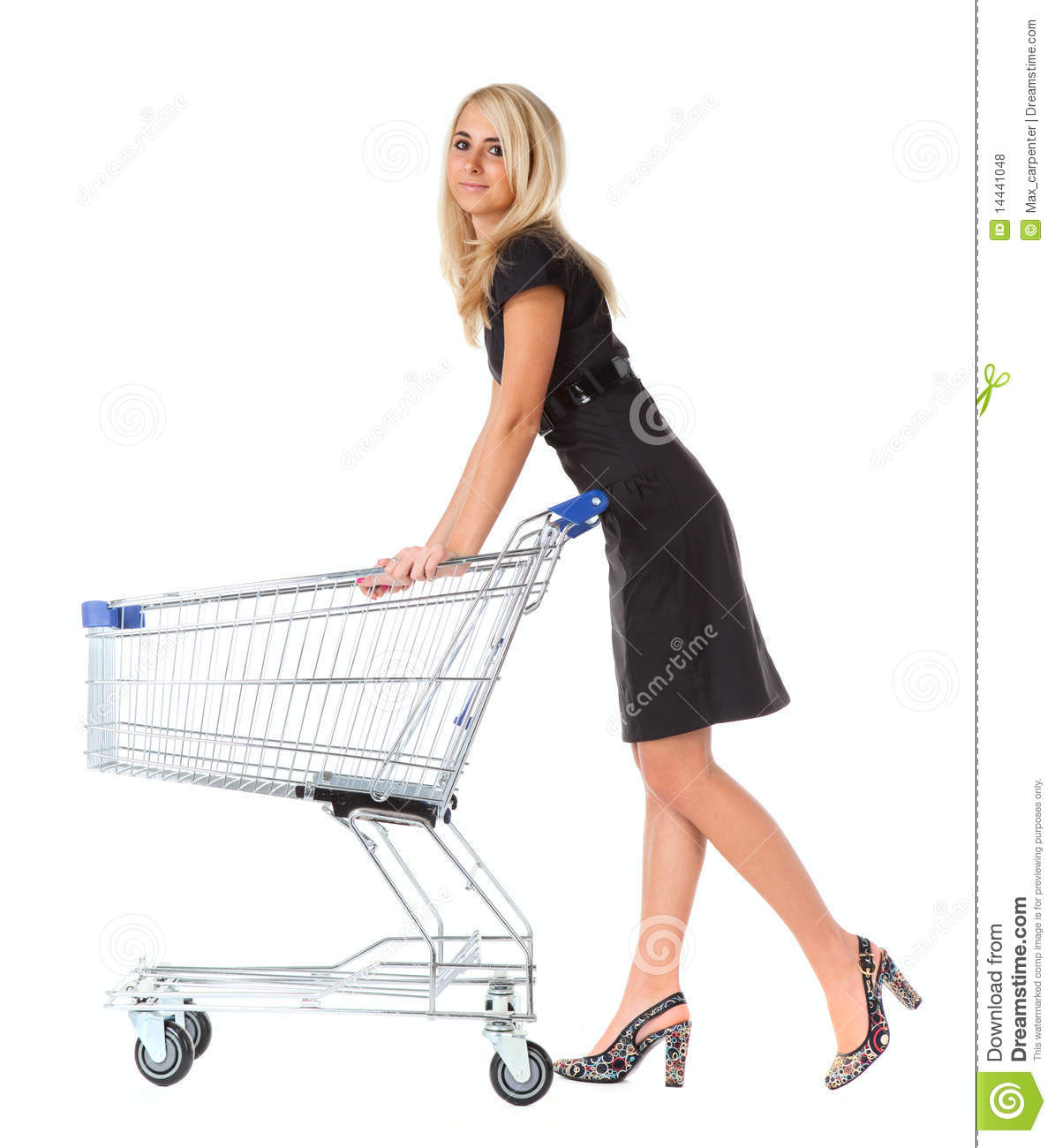 Women with shopping basket over white