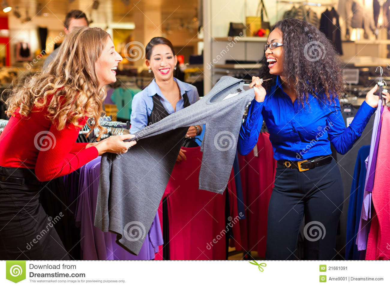 Women In A Shopping Mall With Clothes Stock Image Image