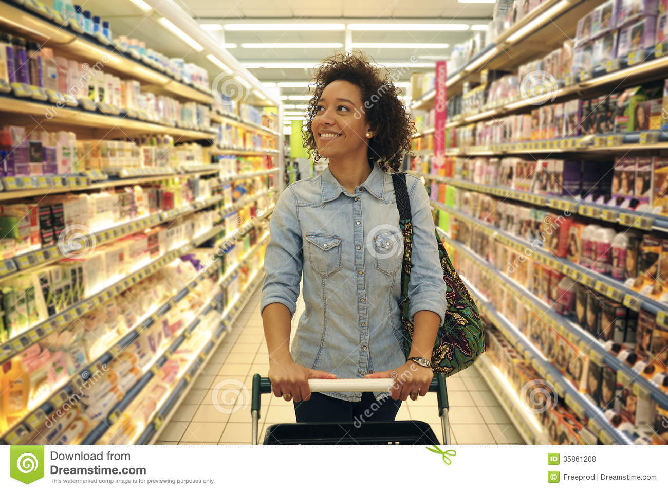 women shopping supermarket shopping cart retail grocery prod royalty free stock photos