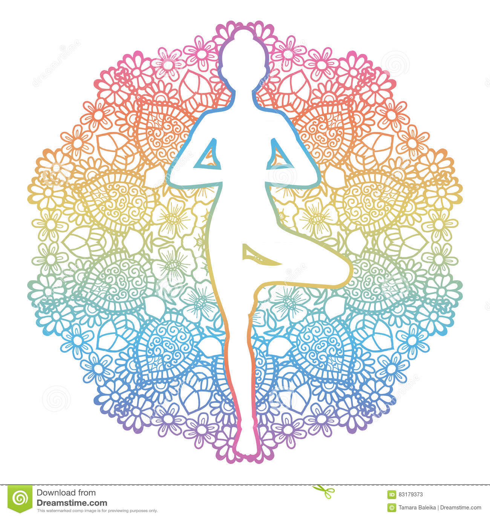 Yoga tree pose silhouette