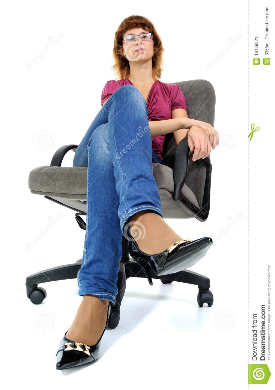 The women sitting in an armchair stock image image for Sitting in armchair