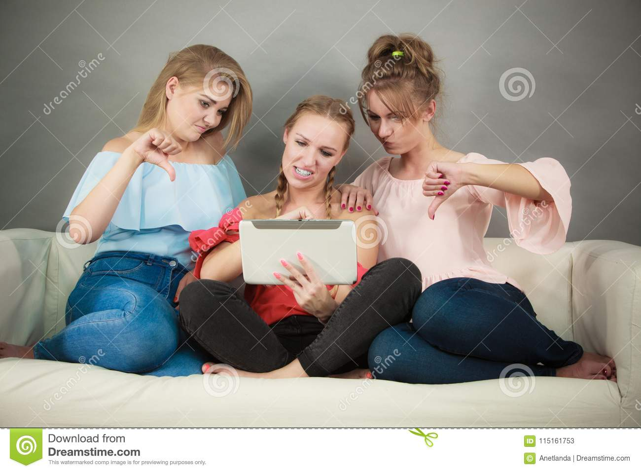 Three women using tablet stock image  Image of decide - 115161753