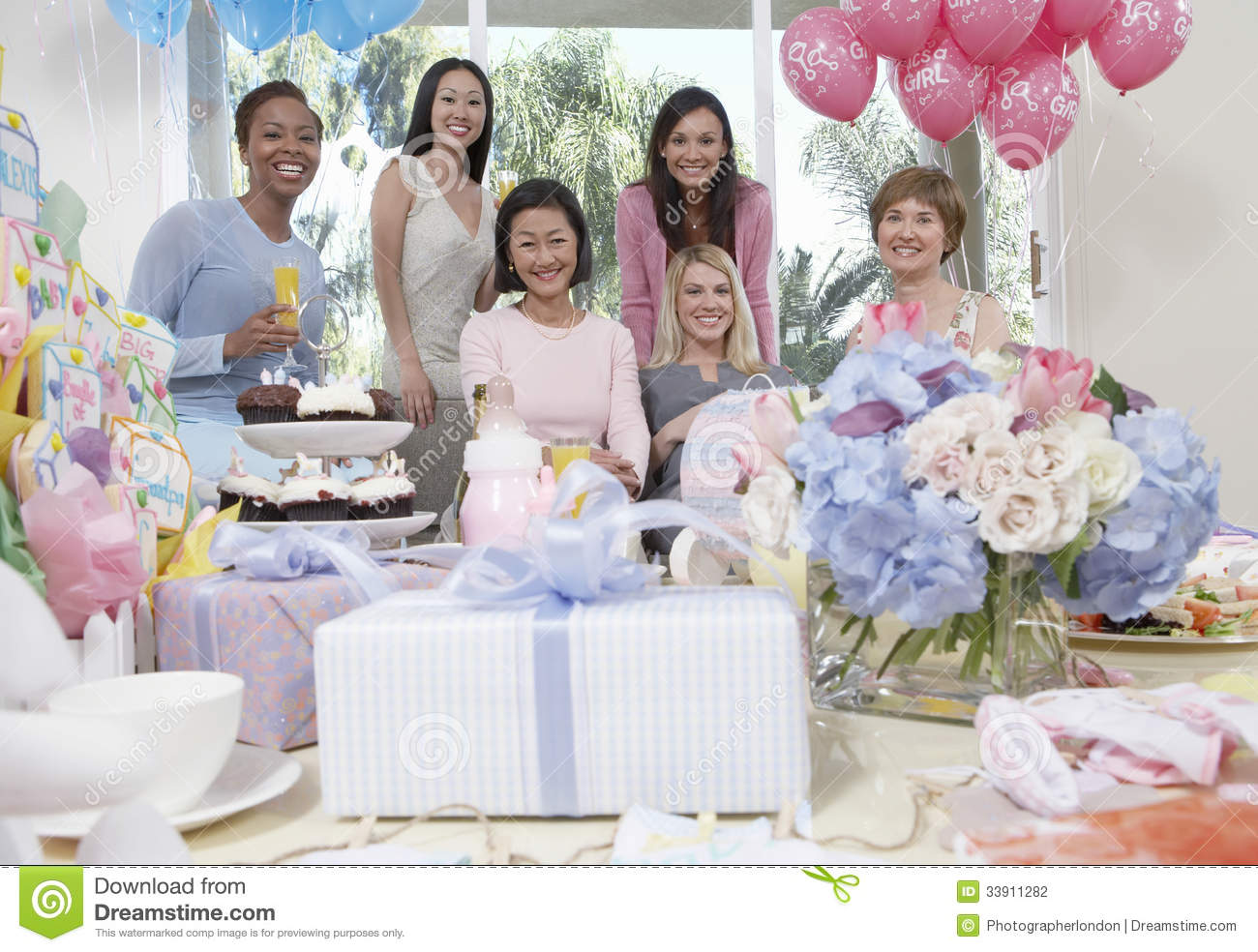 women smiling at baby shower stock photography image 33911282