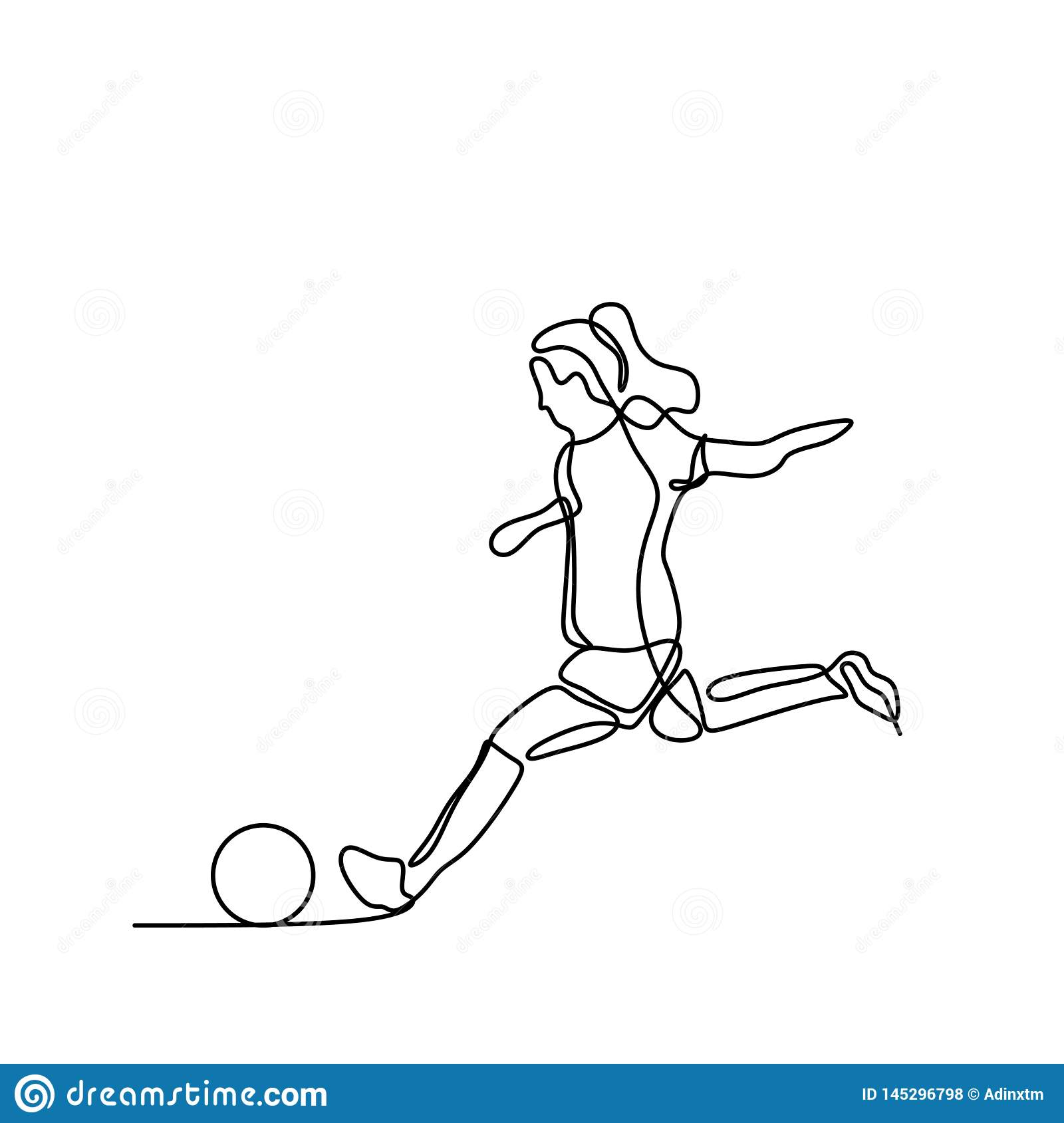 Women soccer player continuous line art drawing
