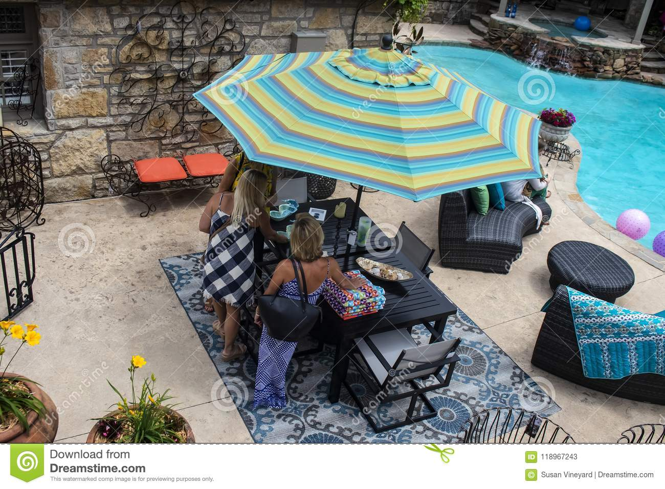 Women Standing Around Patio Table Beside Swimming Pool With Nice Outdoor  Furniture   Top View Tulsa