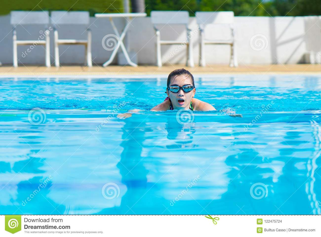 Women Swimming For Exercise In Swimming Pools Stock Photo ...